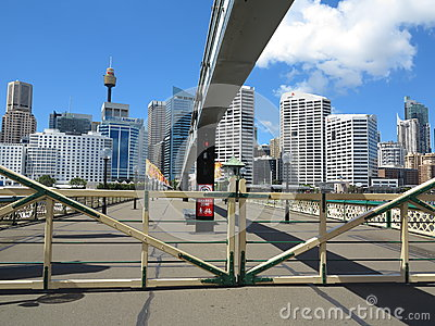 Gates closed on Pyrmont Bridge, Sydney Editorial Photo