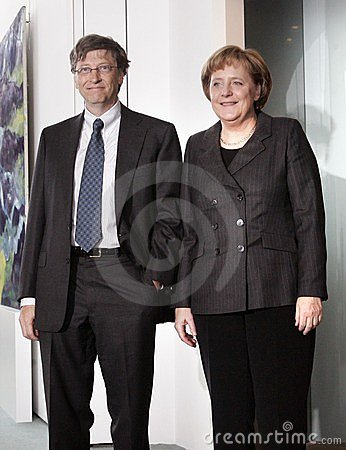 Gates Merkel Editorial Photo