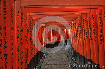 Gates at Temple of Fushimi Inari Editorial Photo