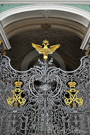 Gates of Winter Palace in St.Petersburg