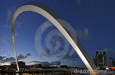 Gateshead Millenium Bridge and Newcastle Quayside