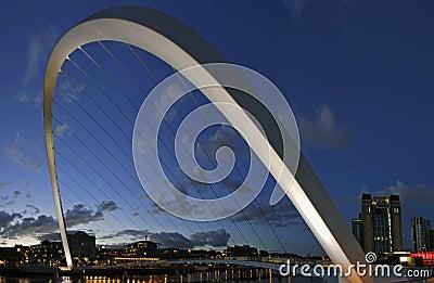 Gateshead Millenium Bridge and Newcastle Quayside