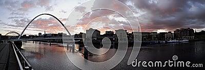 Gateshead Millennium Bridge and Newcastle Quayside