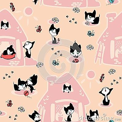 Gatitos en la casa papel pintado fotograf a de archivo - La casa del papel pintado ...
