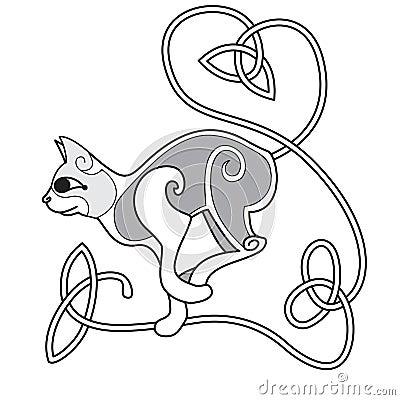 Gato céltico con la cola anudada corazón