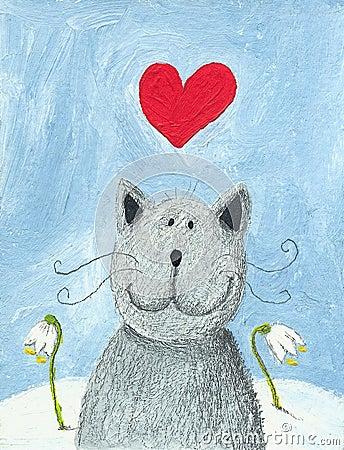 Gato en amor el día de tarjetas del día de San Valentín