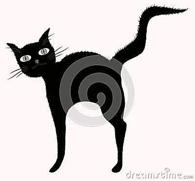 Gato preto grande-eyed engraçado com a cauda downy levantada