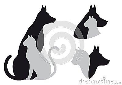 Gato y perro, vector