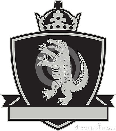 Free Gator Standing Side Coat Of Arms Crest Retro Royalty Free Stock Photo - 69708675