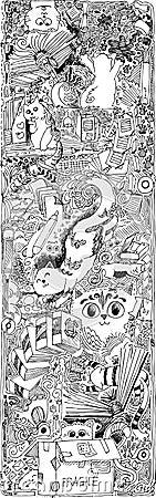 Gatos esboçado dos doodles em um escritório