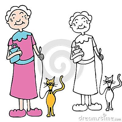 Gatto ambulante della donna maggiore sul guinzaglio