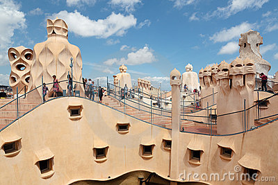 Gaudi designed apartment building La Pedrera Editorial Stock Photo