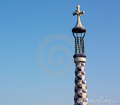 Gaudi s cross in blue sky