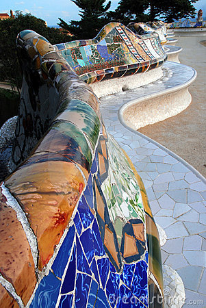 Gaudi s famous mosaic benches at Park Guell