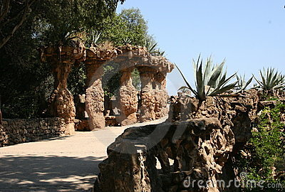 Gaudi s Park Guell in Barcelona - pathways and columns