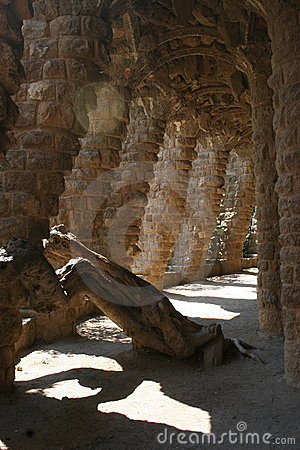 Gaudi s Park Guell in Barcelona - pathways and columns arches