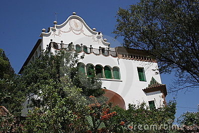 Gaudi s Park Guell in Barcelona - Spanish house