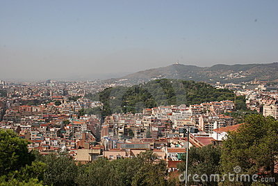 Gaudi s Park Guell in Barcelona - view over Barcelona