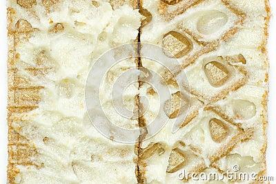 Gaufres de plan rapproché avec de la crème