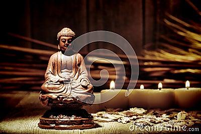Gautama Buddha Statue Figurine in Buddhist Temple