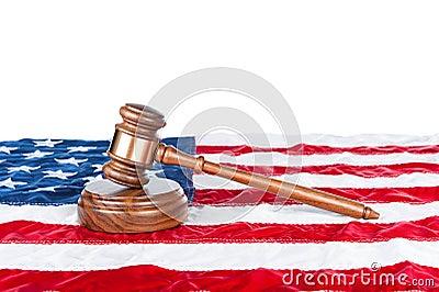 Gavel on American flag