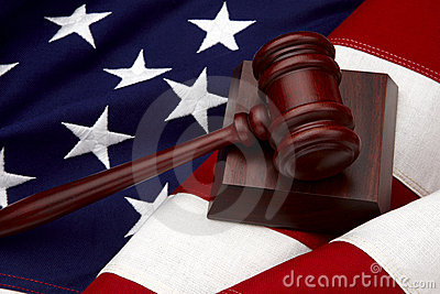 Gavel and American Flag still life