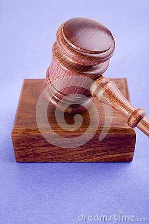 Gavel and Block on Blue