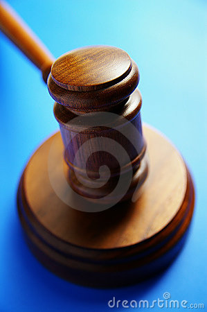 Gavel on blue