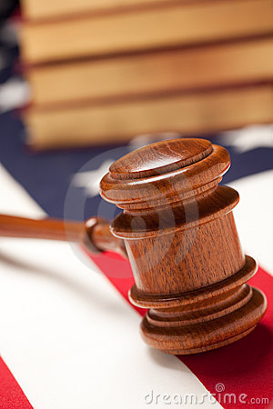 Gavel and Books on Flag
