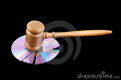 Gavel on broken disk isolated