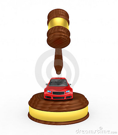 Gavel and car - 3d render
