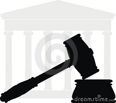 Gavel and court - symbols of law