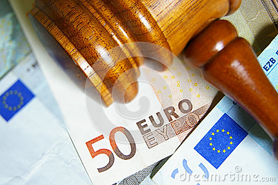 Gavel and Euro notes