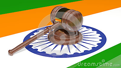 Gavel on the flag of India