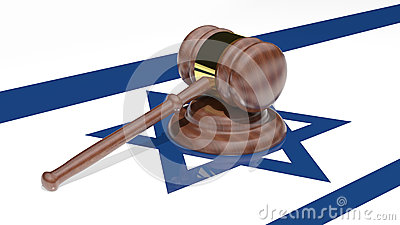 Gavel on the flag of Israel