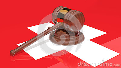 Gavel on the flag of Switzerland