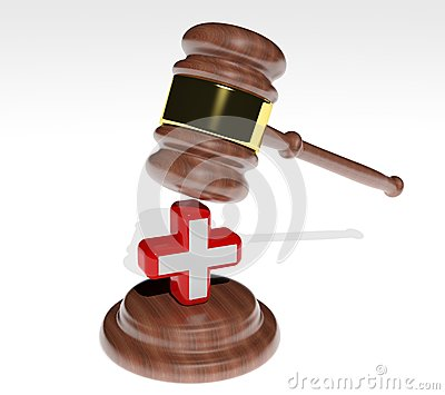 Gavel with health cross