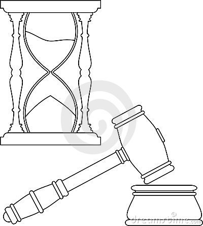 Gavel and hourglass contour