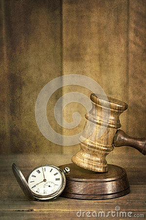 Gavel and Pocket Watch with Grunge Effects