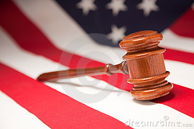 Gavel Resting on American Flag