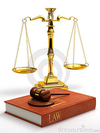 Gavel, scales and law book
