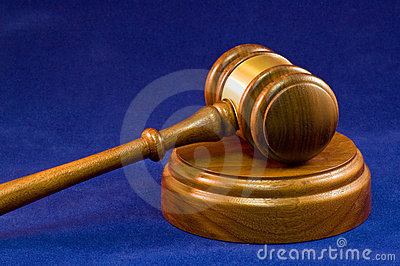 Gavel and wooden block