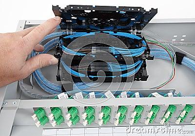 Gavetas da tala da fibra óptica