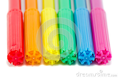 Gay flag colors on felt tip pens isolated on white
