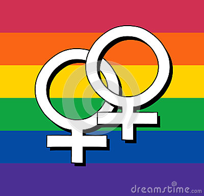 Gay Flag With Female Symbol