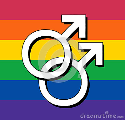 Gay flag with male symbol