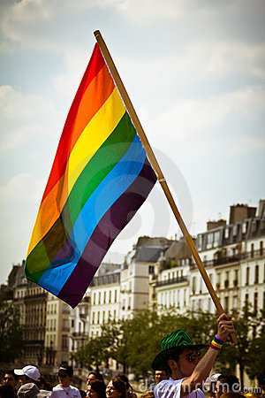 Gay flag Paris Editorial Photography