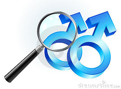 Gay Male Gender Symbols Under Magnifying Glass