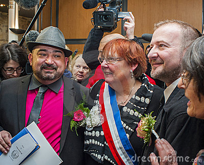 Gay Marriage, Male Couple Posing With Mayor Editorial Photography
