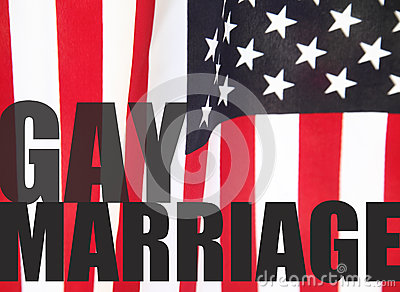 Gay marriage words on American flag